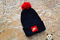 Мужская черная шапка с бубоном найк,Nike