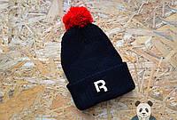 Модная черная шапка с бубоном мужская рибок,Reebok