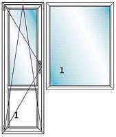 Балконный блок, высота окна: 1430, высота двери: 2150, ширина общая: 2060, фото 1