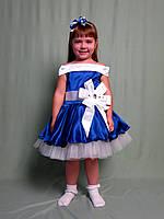 Корсетное платье для девочки в ретро стиле 100-116, эллектрик