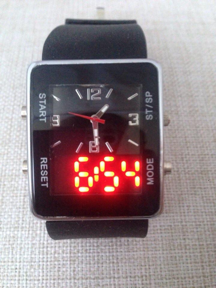 Спортивные часы LED WATCH, Лед черные ( код: IBW022B )