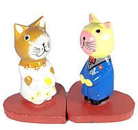 Статуэтки из дерева Кошки на сердечках, набор 2 шт