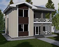 MS230 Проект двухэтажного дома с балконом и большими окнами.
