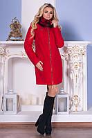 Зимнее женское красное пальто с натуральным мехом  Сан-Ремо Лайт Мodus 44-48 размеры