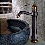 Смеситель кран для ванной комнаты темный однорычажный, фото 2