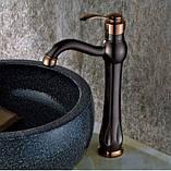 Смеситель кран для ванной комнаты темный однорычажный, фото 3