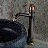 Смеситель для ванной комнаты темный однорычажный 0044, фото 4