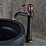 Смеситель кран для ванной комнаты темный однорычажный, фото 4