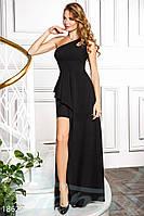 Вечернее длинное платье на одно плечо. Цвет черный.