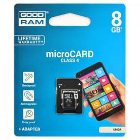 Карта памяти microSDHC 8Gb GoodRam (Class 4)  + Adapter SD