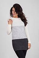 Мягкий удлиненный свитер крупной вязки
