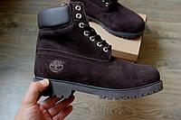 Зимние ботинки Timberland унисекс нубук мех темно-коричневые