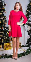 Молодежное платье замшевое красное