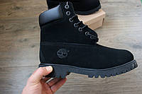 Мужские зимние ботинки Timberland нубук мех черные 43