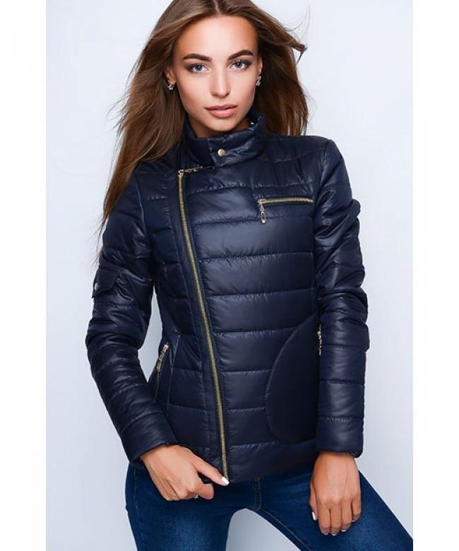 Короткая оригинальная женская куртка модель №35, темно-синий, р.40-48