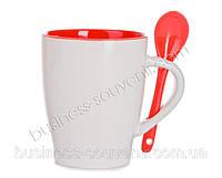 Керамическая чашка с ложечкой