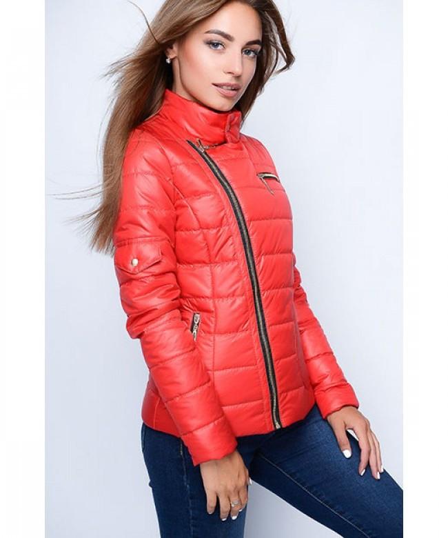 Короткая оригинальная женская куртка модель №35, красный, р.40-48