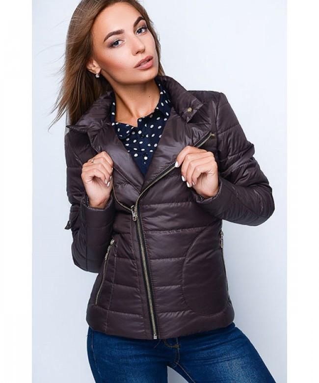 Короткая оригинальная женская куртка модель №35, шоколад, р.40-48