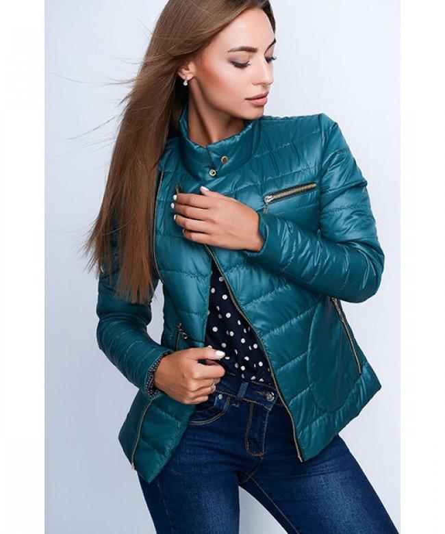 Короткая оригинальная женская куртка модель №35, темная бирюза, р.40-48
