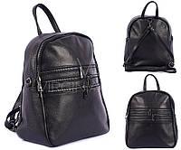 Стильный черный кожаный рюкзак
