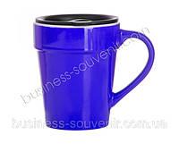 Чашка керамическая синяя, желтая, красная, фото 1