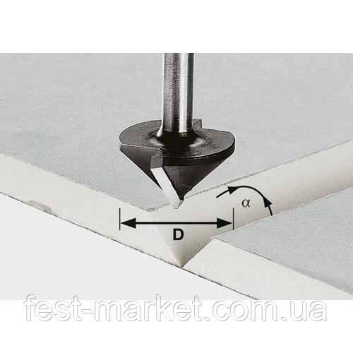 Фреза для выборки V- образного паза в листах гипсокартона HW с хвостовиком 8 мм HW S8 D32/90° Festool 491001
