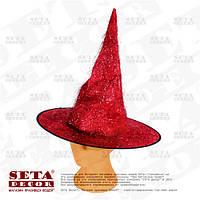 Колпак Волшебница красная с люрексом