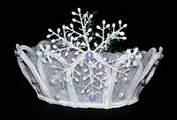 Обруч для волос, фатин, корона, снежинка большая, белая бахрома 21_4_56