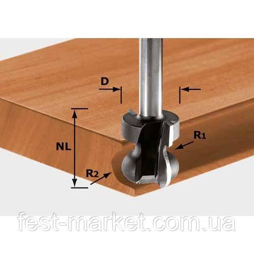 Фреза для профилирования пазов под ручки HW с хвостовиком 8 мм HW S8 D22/16/R2,5+6 Festool 491140