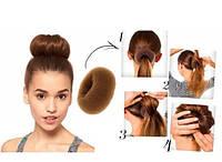 Бублик для волос коричневый d=6cm