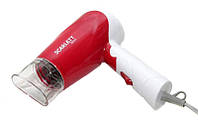 Маленький фен для волос SC 8804, складывающаяся ручка, 1000 Вт, 2 режима мощности, бело-красный