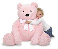 Большой плюшевый мишка, розовый, 76см х 69см
