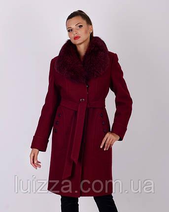 Пальто зимнее, шерсть, 48-56р марсала, фото 2