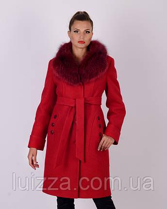Пальто зимнее, шерсть, 48-56р красный, фото 2