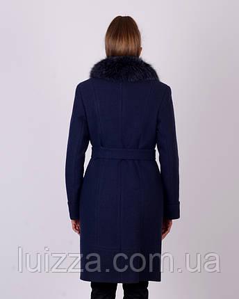 Пальто зимнее, шерсть, 48-56р синий, фото 2