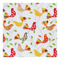 Красивая ткань для штор в стиле прованс птицы оранжевый