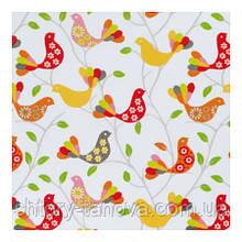 Водоотталкивающая ткань для штор и скатертей Птицы оранжевые, ткани на метраж Турция ширина 180 см