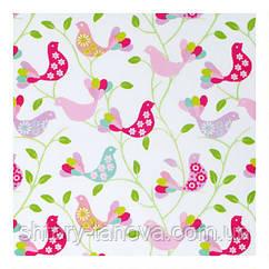 Шторы в стиле прованс птицы розовый