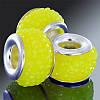 Бусины Пандора из Смолы, со Вставкой из Латуни цвета Платина, с Эффектом Страз, Рондель, Цвет: Желтый, Размер: 12х7.5мм, Отверстие 4.5мм, (УТ0002053)