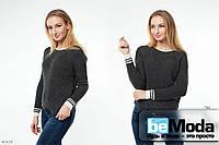 Модный свитер универсального размера  трендового оттенка подчеркивающий индивидуальность антрацитовый