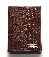 Обложка для автодокументов кожаная, турецкой фирмы Karya, коричневого цвета, лаковая