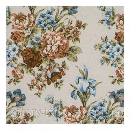 Ткань для штор с ирисами голубой