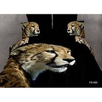 Постельное белье 3D Леопард. Леопард на черном фоне