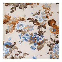Ткань для штор с цветами в стиле прованс голубой