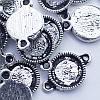 Коннектор-Сеттинг Круглый под Кабошон, 2 отверстия, Металл, Цвет: Античное Серебро, Размер: 19х12мм, Внутренний 10х2мм, Отверстие 2мм, (УТ0026389)