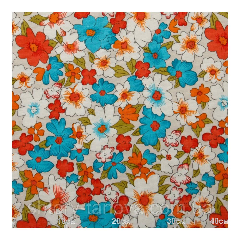 Красивые цветочные шторы голубой