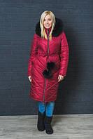 Зимнее, красивое, модное пальто с капюшоном, мех натуральный цвет бордо р-42,44,46,48-50,52-54