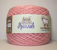 Качественная пряжа розового цвета  50% шерсть 100г