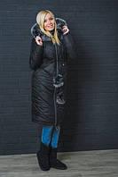 Зимнее, красивое, модное пальто с капюшоном, мех натуральный цвет черный р-42,44,46,48-50,52-54