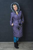 Зимнее, красивое, модное пальто с капюшоном, мех натуральный цвет сирень р-42,44,46,48-50,52-54